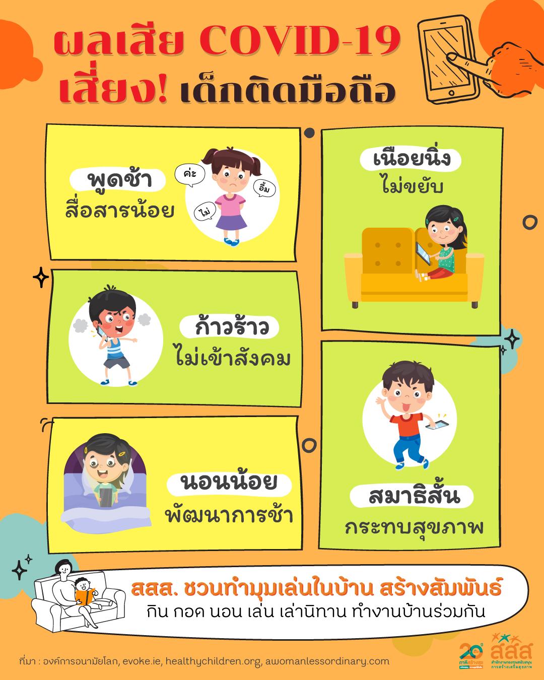 สสส.ห่วงเด็กติดมือถือช่วงโควิด แนะทำมุมเล่นในบ้าน thaihealth