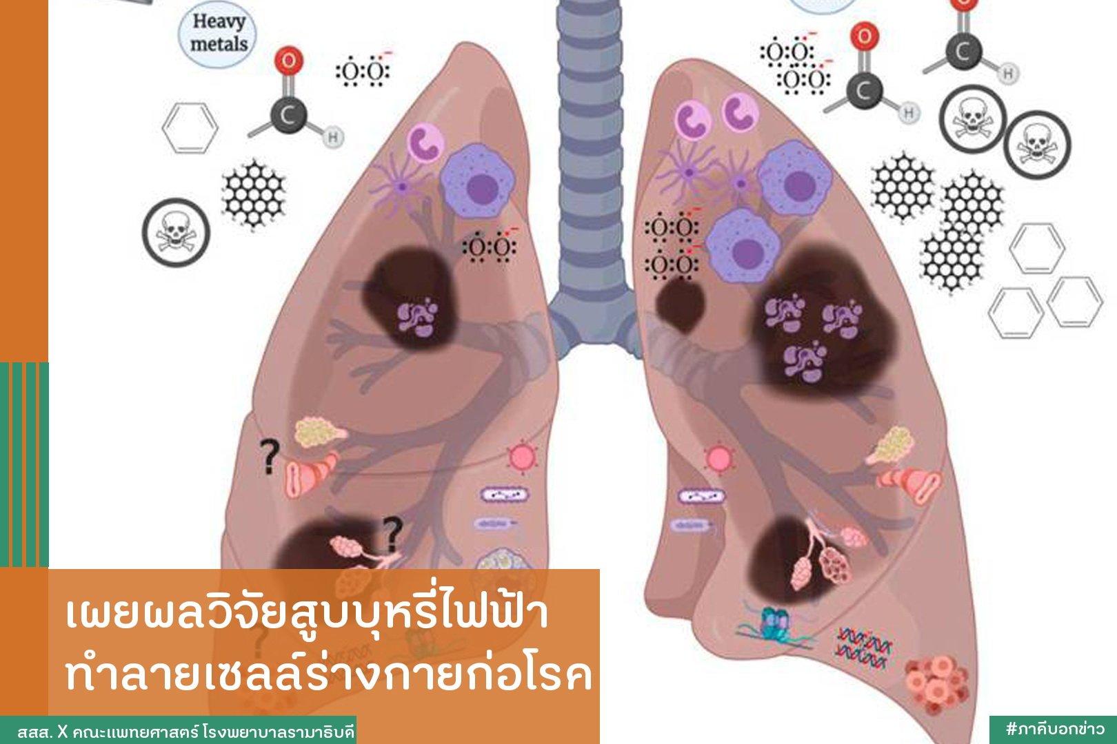 เผยผลวิจัยสูบบุหรี่ไฟฟ้า ทำลายเซลล์ร่างกายก่อโรค thaihealth